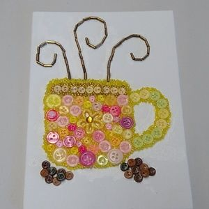 Handcrafted button coffee cup picture firm